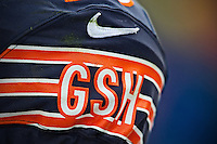 """25 November 2012: The Chicago Bears wear """"GSH"""" on the sleeves of their Nike jerseys in honor of George Halas as they play against the Minnesota Vikings during the second half of the Bears 28-10 victory over the Vikings in an NFL football game at Soldier Field in Chicago, IL."""
