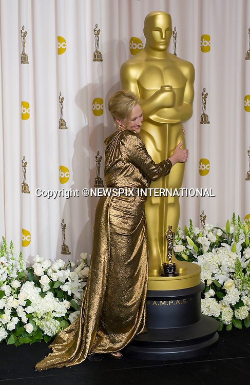 """MERYL STREEP.who won the Best Actress Award at the 84th Academy Awards, Kodak Theatre, Hollywood, Los Angeles_26/02/2012.Mandatory Photo Credit: ©Dias/Newspix International..**ALL FEES PAYABLE TO: """"NEWSPIX INTERNATIONAL""""**..PHOTO CREDIT MANDATORY!!: NEWSPIX INTERNATIONAL(Failure to credit will incur a surcharge of 100% of reproduction fees)..IMMEDIATE CONFIRMATION OF USAGE REQUIRED:.Newspix International, 31 Chinnery Hill, Bishop's Stortford, ENGLAND CM23 3PS.Tel:+441279 324672  ; Fax: +441279656877.Mobile:  0777568 1153.e-mail: info@newspixinternational.co.uk"""