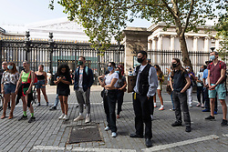© Licensed to London News Pictures. 20/09/2020. London, UK. Protesters take part a demonstration organised by the group All Black Lives Matter the British Museum. Current Covid-19 rules allows puiblic gatherings of no more tyhan six people. Photo credit: Ray Tang/LNP