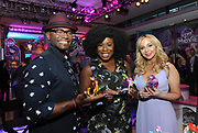 MY LITTLE PONY: The Movie stars Taye Diggs (Capper), Uzo Aduba (Queen Novo) and Tara Strong (Twilight Sparkle), left to right, unveil their Hasbro MY LITTLE PONY: The Movie toys, Monday, Feb. 20, 2017, in New York, at the Hasbro Entertainment Preview Event. MY LITTLE PONY: The Movie will be in theatres October 6, 2017. (Photo by Diane Bondareff/Invision for Hasbro/AP Images)
