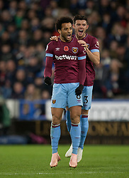 Felipe Anderson of West Ham United (L) celebrates scoring his sides first goal - Mandatory by-line: Jack Phillips/JMP - 10/11/2018 - FOOTBALL - The John Smith's Stadium - Huddersfield, England - Huddersfield Town v West Ham United - English Premier League