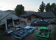 NEWS&GUIDE PHOTO / PRICE CHAMBERS.Redneck Racing headquarters is Shaun King's home on Redmond Street. With six demolition derby cars and 3 figure eight cars under construction there's always something to do. King is a third-generation Jackson native who's grandparents and parents lived in the same house.