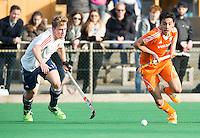 ROTTERDAM -  Ben Stevenson (Eng) with Romeo Pace (Neth.)   Test Match Hockey : Netherlands Boys U18  v England U18 .  .  COPYRIGHT KOEN SUYK