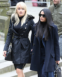 © Licensed to London News Pictures . 18/03/2016 . Manchester , UK . Katie McGlynn and Sair Khan arrive at the service. Television stars and members of the public attend the funeral of Coronation Street creator Tony Warren at Manchester Cathedral . Photo credit : Joel Goodman/LNP
