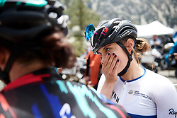 Omer Shapira (ISR) catches up with her team after Amgen Tour of California Women's Race empowered with SRAM 2019 - Stage 2, a 74 km road race from Ontario to Mount Baldy, United States on May 17, 2019. Photo by Sean Robinson/velofocus.com