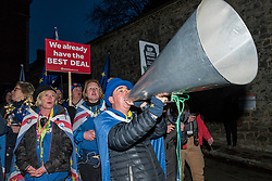 © Licensed to London News Pictures. 14/03/2019. LONDON, UK.  Pro-Remain supporters react to the outcome of MPs voiting in Westminster.   MPs have voted by 412 to 202 for Prime Minister Theresa May to ask the EU for a delay to Brexit.  Photo credit: Stephen Chung/LNP