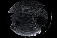 Night Sky Over New Jersey. Composite of images (19:00-19:59)  taken with a Nikon D850 camera and 8-15 mm fisheye lens (ISO 800, 10 mm, f/5.6, 30 sec).