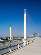 Views of the Bob Kerrey Bridge that spans the Missouri River between Council Bluffs, Iowa and Omaha, Nebraska