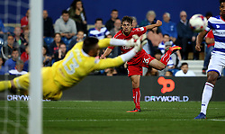 Jordan Stewart of Swindon Town sees his shot saved by Matt Ingram of Queens Park Rangers - Mandatory by-line: Robbie Stephenson/JMP - 10/08/2016 - FOOTBALL - Loftus Road - London, England - Queens Park Rangers v Swindon Town - EFL League Cup