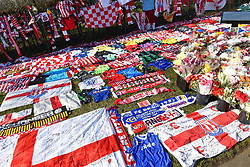 February 23, 2019 - Stoke On Trent, England, United Kingdom - Items left by football supporters in memory of Gordon Banks OBE during the Sky Bet Championship match between Stoke City and Aston Villa at the Britannia Stadium, Stoke-on-Trent on Saturday 23rd February 2019. (Credit Image: © Mi News/NurPhoto via ZUMA Press)