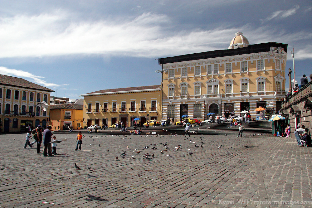 South America, Ecuador, Quito. Colonial plaza of Quito's historical center, a UNESCO World Heritage site.
