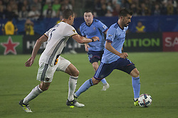 August 12, 2017 - Carson, California, U.S - Daniel Steres #5 of the Los Angeles Galaxy battles for the ball with David Villa #7 of the New York FC during their MLS game on Saturday August 12, 2017 at StubHub Center in Carson, California. LA Galaxy loses to New York FC, 2-0. (Credit Image: © Prensa Internacional via ZUMA Wire)