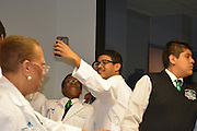 Mickey Leland ninth-grade biology students are excited about conducting various experiments in the Health Museum's DeBakey Cell Lab.