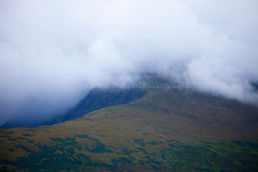 "Slievanea mountain, shrouded by cloud, near the Connor Pass, Dingle Peninsula, Kerry, Ireland This mage can be licensed via Millennium Images. Contact me for more details, or email mail@milim.com For prints, contact me, or click ""add to cart"" to some standard print options."