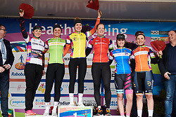 L to R: Lisa Klein (GER), Chantal Blaak (NED), Anna van der Breggen (NED), Kirsten Wild (NED), Amber van der Hulst (NED), Lisa Brennauer (GER) at Healthy Ageing Tour 2018 - Stage 1, an 8km individual time trial in Heerenveen on April 4, 2018. Photo by Sean Robinson/Velofocus.com