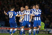 Brighton striker Tomer Hemed celebrates after making it 1-0 from the penalty spot during the Sky Bet Championship match between Brighton and Hove Albion and Fulham at the American Express Community Stadium, Brighton and Hove, England on 15 April 2016. Photo by Bennett Dean.