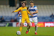 Queens Park Rangers midfielder Marc Pugh (7) battles for possession with Preston North End midfielder Ben Pearson (4) during the EFL Sky Bet Championship match between Queens Park Rangers and Preston North End at the Kiyan Prince Foundation Stadium, London, England on 7 December 2019.