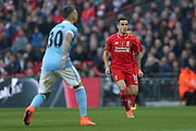 Liverpool midfielder Philippe Coutinho (10)   during the Capital One Cup match between Liverpool and Manchester City at Anfield, Liverpool, England on 28 February 2016. Photo by Simon Davies.