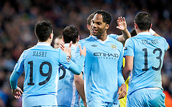 18.10.2011, City of Manchester Stadion, Manchester, ENG, UEFA CL, Gruppe A, Manchester City (ENG) vs FC Villarreal (ESP), im Bild Manchester City's Joleon Lescott celebrates his side's 1-1 goal with team-mate Samir Nasri against Villarreal CF// during UEFA Champions League group A match between Manchester City (ENG) and FC Villarreal (ESP) at City of Manchester Stadium, Manchaster, United Kingdom on 18/10/2011. EXPA Pictures © 2011, PhotoCredit: EXPA/ Propaganda Photo/ Vegard Grott +++++ ATTENTION - OUT OF ENGLAND/GBR+++++