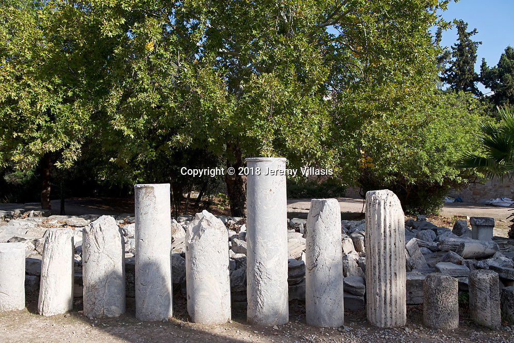 Column fragments lined up in the Ancient Agora of Athens in Greece.