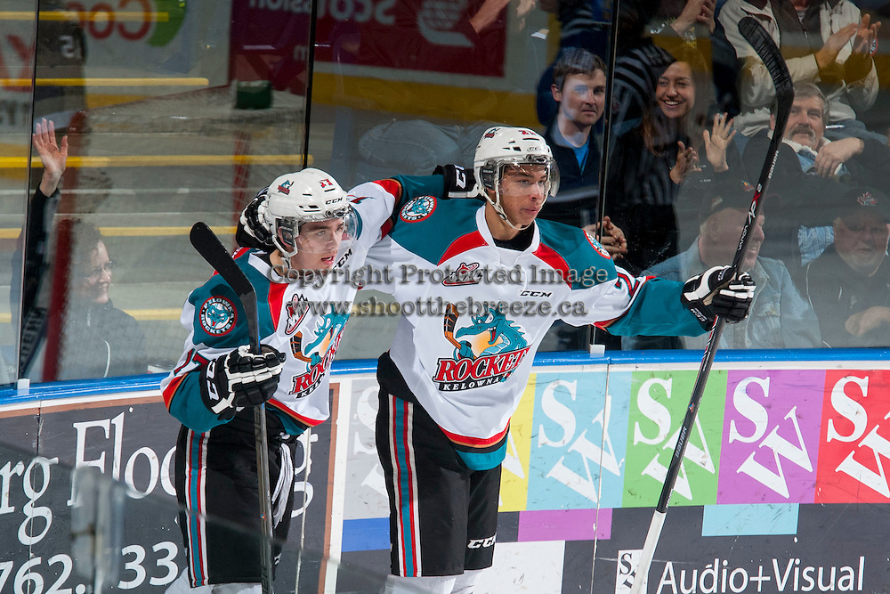 KELOWNA, CANADA - MARCH 11: Rodney Southam #17 and Devante Stephens #21 of Kelowna Rockets celebrate a goal against the Victoria Royals on March 11, 2015 at Prospera Place in Kelowna, British Columbia, Canada.  (Photo by Marissa Baecker/Shoot the Breeze)  *** Local Caption *** Rodney Southam; Devante Stephens;