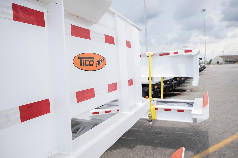 TICO trucks and trailer wait export at Ocean Terminal at the Georgia Ports Authority Garden City Terminal, Thursday, Aug. 20 2015, in Savannah, Ga.  (GPA Photo/Stephen B. Morton)