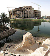 Image from Camp Slayer, an area formerly known as the Radwaniyah Presidential Site, which was just one of Saddam's many palaces. This area was off-limits to UN weapons inspection teams prior to the start of the war.  The site is located about 9 miles east of central Baghdad, and is adjacent to 'Saddam International Airport'. The compound itself is 9.3 square miles in size, surrounded by three artificial lakes.  This was a favorite playground of Saddam and his closest associates.