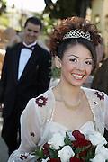 Bride with bouquet, portrait