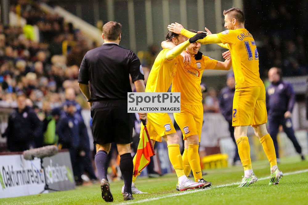 Will Keane of Preston North End celebrates with his team mates after scoring the opening goal during Burnley v Preston North End, Sky Bet Championship, 5th December 2015, (c) Jackie Meredith/SportPix.org.uk Tom Clarke of Preston North End