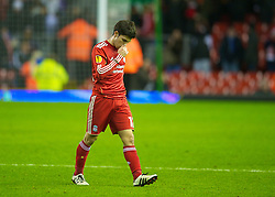 LIVERPOOL, ENGLAND - Wednesday, December 15, 2010: Liverpool's Dani Pacheco walks off dejected after his side's boring goal-less draw with FC Utrecht during the UEFA Europa League Group K match at Anfield. (Photo by: David Rawcliffe/Propaganda)