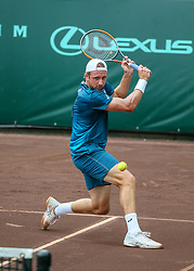 April 13, 2018 - Houston, TX, U.S. - HOUSTON, TX - APRIL 13:  Tennys Sandgren of the United States hits a backhand return in the match against Guido Pella of Argentina during the Quarterfinal round of the Men's Clay Court Championship on April 13, 2018 at River Oaks Country Club in Houston, Texas.  (Photo by Leslie Plaza Johnson/Icon Sportswire) (Credit Image: © Leslie Plaza Johnson/Icon SMI via ZUMA Press)