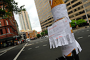 It is a feature of Sydney, Australia, that street poles are used to post all sorts of messages, especially advertising Rooms To Let. Here one advertises English lessons. Sydney, Australia