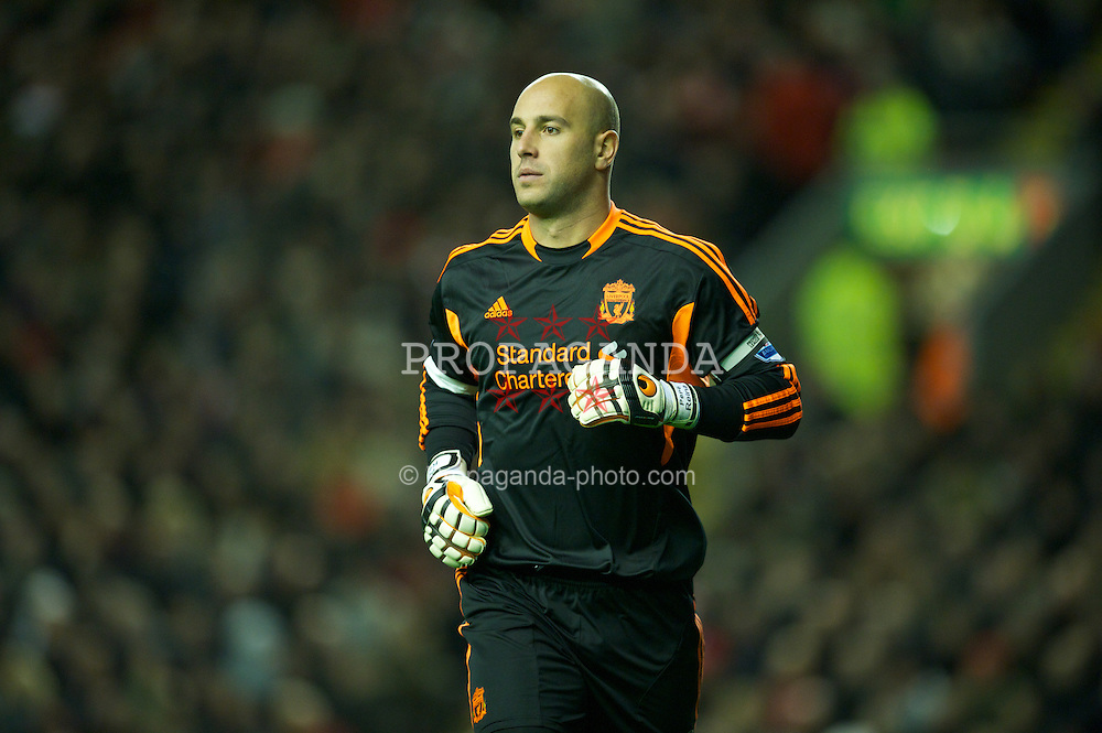 LIVERPOOL, ENGLAND - Sunday, November 27, 2011: Liverpool's goalkeeper Jose Reina in action against Manchester City during the Premiership match at Anfield. (Pic by David Rawcliffe/Propaganda)