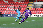 Alex Addai misses a chance  during the EFL Sky Bet League 2 match between Crewe Alexandra and Cheltenham Town at Alexandra Stadium, Crewe, England on 18 January 2020.