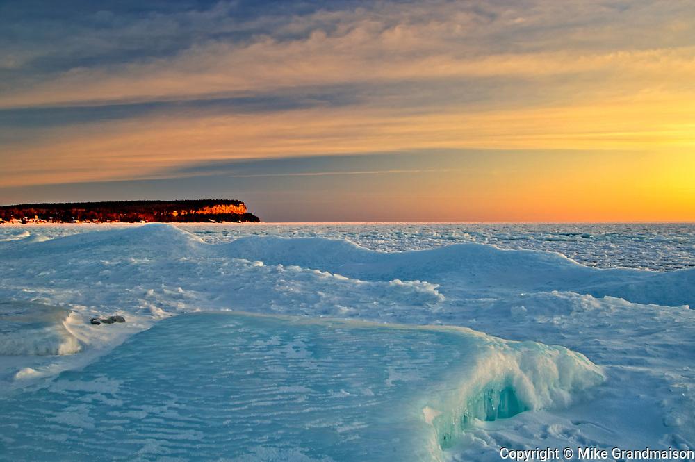Ice in Isthmus Bay in Georgian Bay (Lake Huron) at sunrise. Bruce Peninsula.<br />Near Lion's Head<br />Ontario<br />Canada