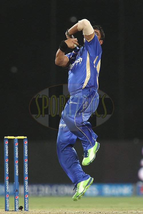 Pravin Tambe of the Rajasthan Royals sends down a delivery during match 23 of the Pepsi Indian Premier League Season 2014 between the Delhi Daredevils and the Rajasthan Royals held at the Feroze Shah Kotla cricket stadium, Delhi, India on the 3rd May  2014<br /> <br /> Photo by Shaun Roy / IPL / SPORTZPICS<br /> <br /> <br /> <br /> Image use subject to terms and conditions which can be found here:  http://sportzpics.photoshelter.com/gallery/Pepsi-IPL-Image-terms-and-conditions/G00004VW1IVJ.gB0/C0000TScjhBM6ikg