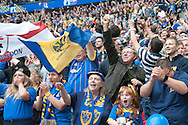 AFC Wimbledon fans celebrate Lyle Taylor's goal during the Sky Bet League 2 Play-off Final at Wembley Stadium, London<br /> Picture by Matt Wilkinson/Focus Images Ltd 07814 960751<br /> 30/05/2016