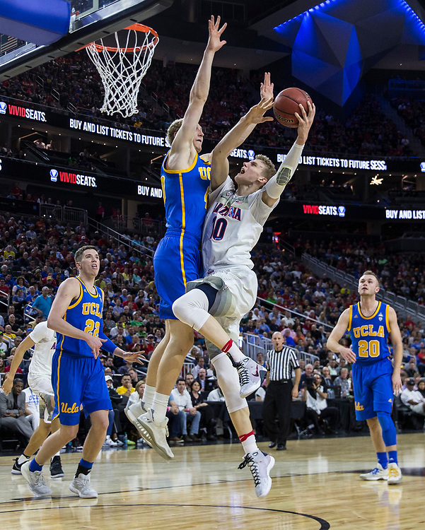 Mar 10 2017  Las Vegas, NV, U.S.A.  Arizona forward Lauri Markkanen (10) scored 29 points 6 rebounds and 1 assist drives to the basket during the NCAA Pac 12 Men's Basketball Tournament Semi-Final Game Two between UCLA Bruins and Arizona Wildcats 86-75 win at T Mobile Arena Las Vegas, NV.  Thurman James / CSM