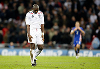 Photo: Richard Lane/Sportsbeat Images.<br />England v Croatia. UEFA European Championships Qualifying. 21/11/2007. <br />England's Sol Campbell shows his dejection on the final whistle.