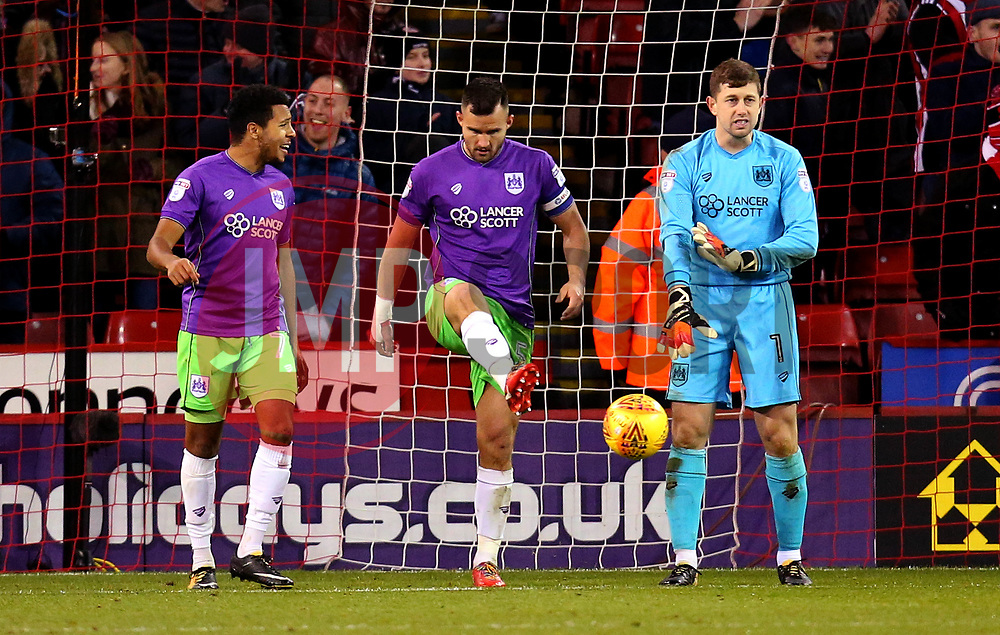 Korey Smith, Bailey Wright and Frank Fielding of Bristol City cut frustrated figures after conceding a goal - Mandatory by-line: Robbie Stephenson/JMP - 08/12/2017 - FOOTBALL - Bramall Lane - Sheffield, England - Sheffield United v Bristol City - Sky Bet Championship