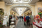Historic Charleston City Market on Market Street in Charleston, SC.
