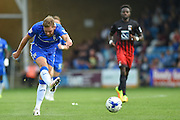 Gillingham midfielder Scott Wagstaff (7) has a shot on goal during the EFL Sky Bet League 1 match between Gillingham and Coventry City at the MEMS Priestfield Stadium, Gillingham, England on 24 September 2016. Photo by Martin Cole.