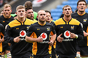 Wasps back row Jack Willis (7) Wasps scrum half Dan Robson (9) and Wasps wing Josh Bassett (11) during the Gallagher Premiership Rugby match between Wasps and London Irish at the Ricoh Arena, Coventry, England on 20 October 2019.