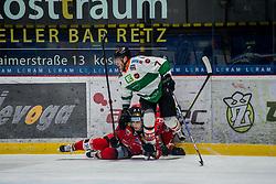 10.02.2018, Ice Rink, Znojmo, CZE, EBEL, HC Orli Znojmo vs Moser Medical Graz 99ers, Qualifikationsrunde, im Bild v.l. Antonin Boruta (HC Orli Znojmo) Peter Robin Weihager (Moser Medical Graz99ers) David Bartos (HC Orli Znojmo) // during the Erste Bank Icehockey League qualification round match between HC Orli Znojmo and Moser Medical Graz 99ers at the Ice Rink in Znojmo, Czech Republic on 2018/02/10. EXPA Pictures © 2018, PhotoCredit: EXPA/ Rostislav Pfeffer