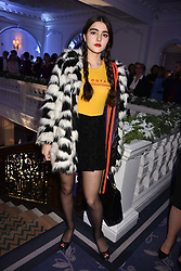 Maddie Mills at reception to celebrate the launch of the Claridge's Christmas Tree 2017 at Claridge's Hotel, Brook Street, London England. 28 November 2017.