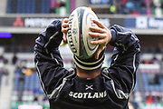 Stuart McInally warms up for the Autumn Test match between Scotland and Argentina at Murrayfield, Edinburgh, Scotland on 24 November 2018.