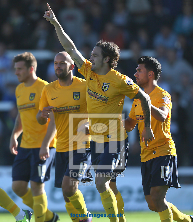 Picture by Paul Gaythorpe/Focus Images Ltd +447771 871632<br /> 28/09/2013<br /> Ryan Williams of Oxford United celebrates scoring the first goal against Hartlepool United during the Sky Bet League 2 match at Victoria Park, Hartlepool.