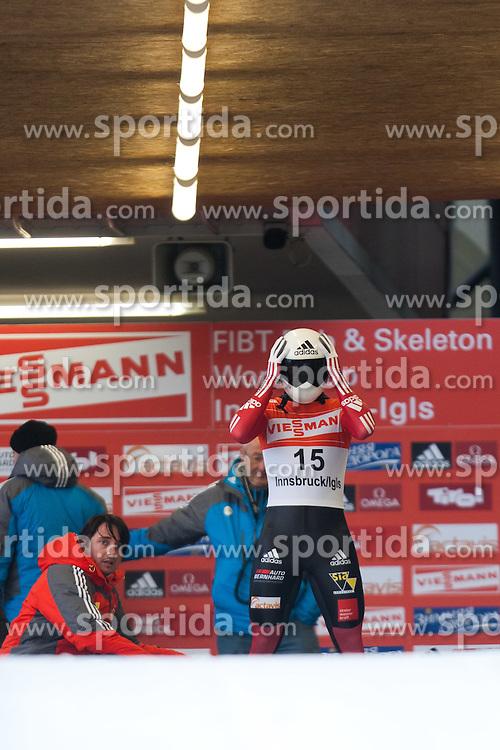 03.12.2011, Eiskanal, Igls, AUT, Viessmann FIBT Bob und Skeleton Weltcup, Skeleton Herren, 1. Durchgang, im Bild Matthias Guggenberger (AUT) // Matthias Guggenberger  of Austria during first run men's Skeleton at FIBT Viessmann Bobsleigh and Skeleton World Cup at Olympic ice canal, Innsbruck Igls, Austria on 2011/12/03. EXPA Pictures © 2011, PhotoCredit: EXPA/ Johann Groder
