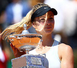 May 20, 2018 - Rome, Italy - ELINA SVITOLINA of Ukraine poses with the trophy after winning the Women's Singles final match against S. Halep on Day Eight of the The Internazionali BNL d'Italia 2018, at Foro Italico. (Credit Image: © Matteo Ciambelli/NurPhoto via ZUMA Press)