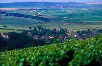 View of the French Burgundy wine village, Chablis, seen from the great growth vineyards of Les Clos